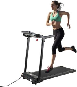 A lady in green shirt using JAXPETY Electric Treadmill
