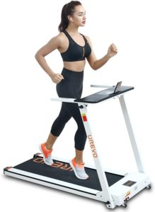 A girl in black exercise clothes jogging on UREVO Treadmills at Home