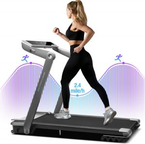 A woman jogging the WEKEEP I1 Portable Treadmill