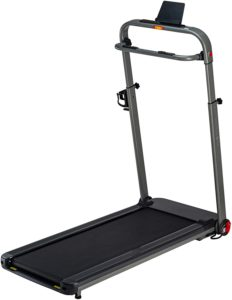 Black foldable treadmill for home use
