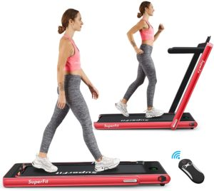 Two ladies, one is walking and another is jogging on Goplus Treadmill