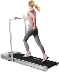 The lady running on the Doufit treadmill for home
