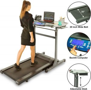 A lady with her laptop on treadmill desk is jogging and working