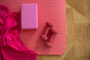 mat, dumbbells, yoga block