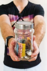 jar of cash and coins