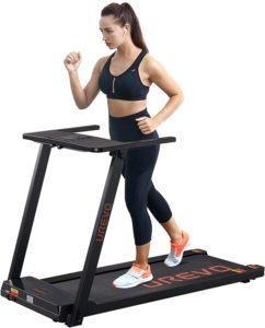 A lady is jogging on UREVO slim treadmill