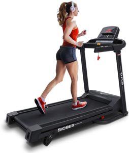 A girl running on the treadmill