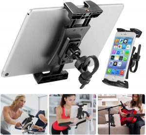 Tablet and phone holder for exercise equipment