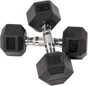 BalanceFrom Rubber Encased Hex Dumbbell in Pairs