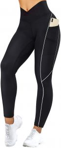 Reflective High Waisted Running Leggings with Pockets