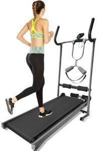 A girl jogging on a manual treadmill