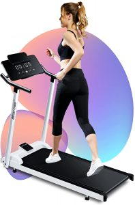 A girl in black exercise dress running on Woodtree Foldable Treadmills for Home