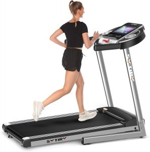 """The girl is running on the Home Treadmill with Large 10"""" Touchscreen and WiFi"""