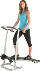 A woman standing on the treadmill