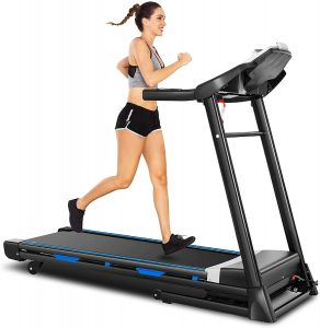 Ancheer folding treadmill with automatic incline