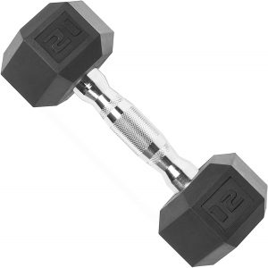 CAP Barbell Hex Rubber Dumbbell with Metal Handles