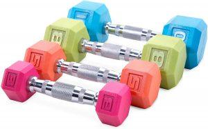 colorful dumbbells