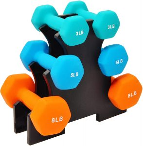 dumbbell pack with rack