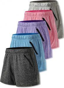 multi-color sport shorts for women