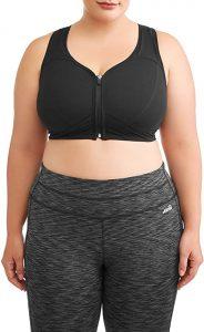 Athletic Works Women's Plus Size Zipper Front Sports Bra