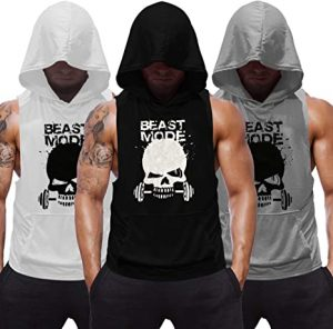 SZKANI 3 Packs Sleeveless Workout Hoodie for Men