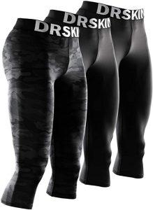 DRSKIN 1, 2 or 3 Pack Men's 3:4 Compression Pants