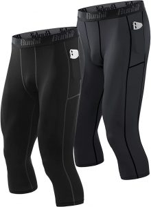 Runhit 3/4 Compression Pants Men with Pockets